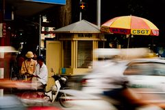 Police standing in busy hanoi traffic stock photo