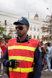 Police stands guard for President Obama motorcade in Havana, Cuba 2016 Royalty Free Stock Photography