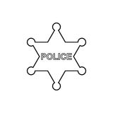 Police star outline icon. Linear vector illustration Stock Photography