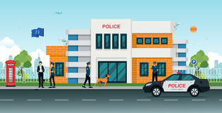 Police station. With police cars and police men and women royalty free illustration