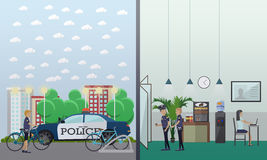 Police station concept vector illustration in flat style Royalty Free Stock Photo