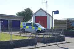 Police station and fire station. The police station and fire station at Scarinish on the island of Tiree in Scotland royalty free stock photography