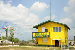 The police station at Hattieville. A village on the outskirts of Belize City along the Hummingbird Highway Royalty Free Stock Image