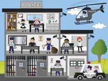Police station. Illustration of funny police station Royalty Free Stock Image