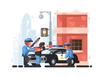 Police station and patrol with detainee Stock Image