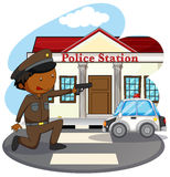 Police station. Policeman in uniform and police station Stock Photography