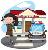 Police station. Policewoman with gun at the police station Royalty Free Stock Photo