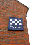 Police Station Sign. Detail of police station and sign on white background stock photography