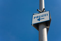 Police station sign. Sign to a police station in Germany royalty free stock photography