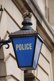 Police Station Sign. A Classic Blue Glass and Metal Police Station Sign stock photo