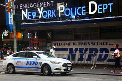 Police station in Times Square, New York. New York, USA - August 2015: Police station in Times Square. Some people are visible in the picture royalty free stock photography