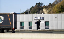 Police station traffic and people control stock photo