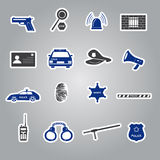 Police stickers set eps10. Police stickers black and blue set eps10 Stock Image