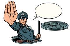 Police stop gesture, dangerous manhole. Road works isolate on white background. Pop art retro vector illustration drawing kitsch vintage stock illustration