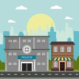 Police store shop building board natural city background. Vector illustration Stock Photos