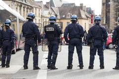 Police in the street of France. Facing a demonstration royalty free stock images
