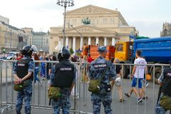 Police in the streets of Moscow Bolshoi Theater stock photo