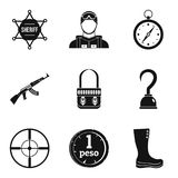 Police stuff icons set, simple style. Police stuff icons set. Simple set of 9 police stuff vector icons for web isolated on white background Stock Image