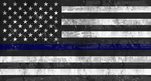 Free Police Support Flag Grunge Black Blue Stock Image - 185972861