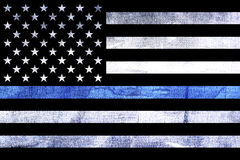 Police Support Flag Thin Blue Line. A police and law enforcement support flag background with a textured grunge background and thin blue line royalty free stock photos