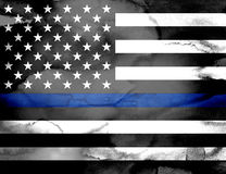 Police Support Flag Watercolor Illustration Royalty Free Stock Photography