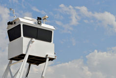 Police Surveillance Tower. Mobile Police Surveillance Tower at a large Public Event stock photo