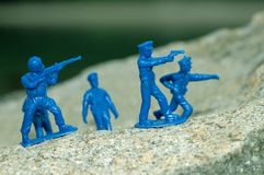 Police Swat Team. Blue Toy Police Swat Team in Action Stock Photo