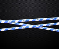 Police tape on black background Royalty Free Stock Photography
