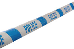 Police tape. Blue and White Police Line Do Not Cross Tape Line at Angle isolate don a white background royalty free stock images