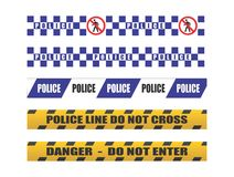 Police tape. Do not cross - blue ,  yellow Royalty Free Stock Photos