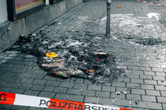 Police tape in Germany at the crime scene with the inscription in German police cordon. Crime Scene. Police tape in Germany at the crime scene with the Stock Images