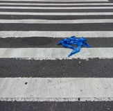 Police Tape, Law Enforcement Tape, Barricade Tape, Barrier Tape, Police Line in the Crosswalk stock photo