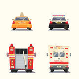 Police, Taxi, Ambulance car and Firetruck. Vector cartoon illustration Stock Photos