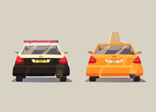 Police and Taxi car. Vector cartoon illustration Royalty Free Stock Photography