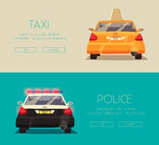 Police and Taxi car. Vector cartoon illustration Royalty Free Stock Photo