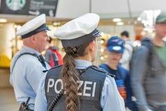 Police in Tegel airport. Berlin, Germany. BERLIN, GERMANY - APRIL 20, 2019: Police patrol in Tegel airport. Police on high terror alert warned to be hyper royalty free stock photo