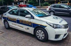 Police in Tel Aviv. Tel Aviv, Israel - October 19, 2015. Police car parked on pavement in Tel Aviv Royalty Free Stock Photography