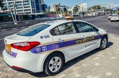 Police in Tel Aviv. Tel Aviv, Israel - October 21, 2015. Police car parked on pavement in Tel Aviv Royalty Free Stock Images