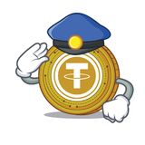 Police Tether coin character cartoon. Vector illustration Stock Image