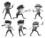 Police and thieves in black and white Stock Photo