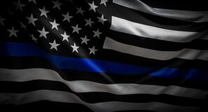 Free Police Thin Blue Line Flag Stock Images - 194830054