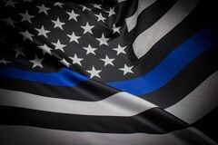 Free Police Thin Blue Line Flag Stock Photo - 194869480