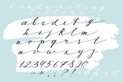 Police tirée par la main calligraphique Alphabet manuscrit dans le style élégant de brosse Manuscrit moderne dans le vecteur Minc Photo stock