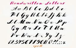 Police tirée par la main calligraphique Alphabet manuscrit dans le style élégant de brosse Manuscrit moderne dans le vecteur Arti Images libres de droits