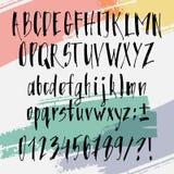 Police tirée par la main calligraphique Alphabet manuscrit dans le style de brosse Manuscrit moderne dans le vecteur Artistique m Image stock