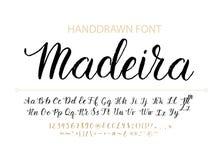 Police tirée par la main de manuscrit de vecteur Oeil d'un caractère texturisé en cursive de calligraphie de style de brosse Images libres de droits
