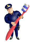 Police with Tooth brush. 3d rendered illustration of Police with Tooth brush Stock Image