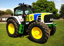 Police Tractor. With blue lights and police battenburg livery this tractor is being used by British Thames Valley Police to raise awareness of rural crime Royalty Free Stock Images
