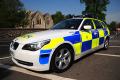 Police traffic car. A police patrol car at the roadside in rural England. April 2011. England Royalty Free Stock Photo