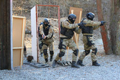 Police training. Training of special police units , tactical training at a shooting range Stock Photos